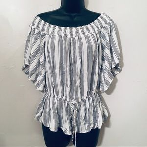 Abercrombie and Fitch Off Shoulder Striped Top